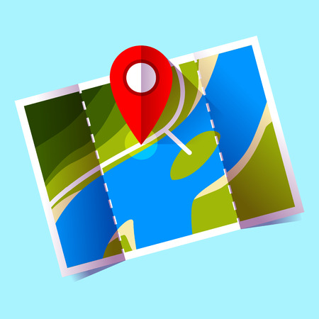 navigation icon vector, red pin on map icon vector