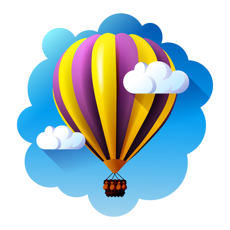hot air balloon in clouds vector. Stock Photo