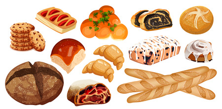 Set vector bread icons. Rye, whole grain and wheat bread, pretzel, muffin, croissant, bagel, french baguette, cherry strudel, bun, muffin with icing, roll with poppy seeds for design menu bakery