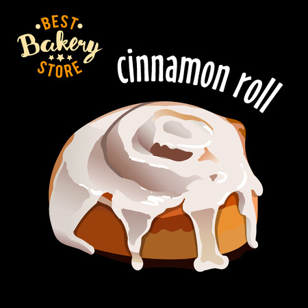 Glazed cinnamon roll isolated on black background vector illustration 向量圖像