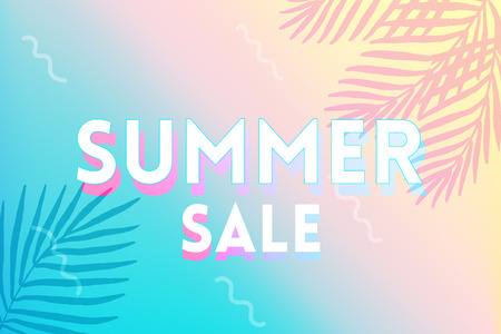 Hot Summer Sale banner. Trendy texture. Season vocation, weekend, holiday logo. Summer Time Wallpaper. Happy shiny Day. Modern vector Lettering. Illustration