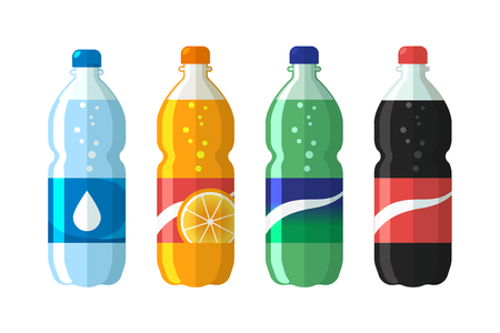 set of plastic bottle of water and sweet soda cola, sprite, fantasy orange soda. Flat vector soda icons illustration. Çizim