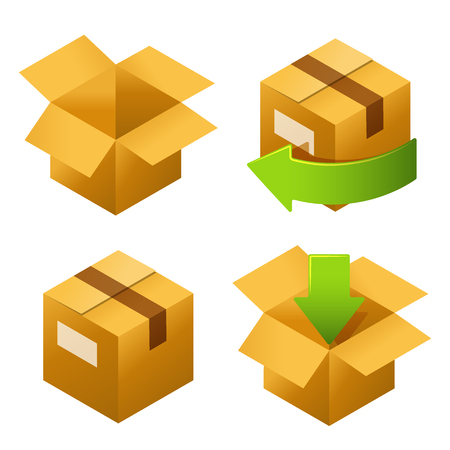 Isometric cardboard boxes set icons. Delivery and free return of gifts or parcels. Vektorgrafik