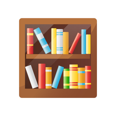 Colorful books on wooden shelf. Bookshelf icon. Literature, library, study, education and science icon. Isolated on white background. Vector illustration.