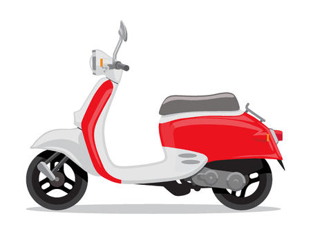 Vector red and white retro scooter, flat style side view. Moped for delivery, scooter for tourism. Economical and ecological city transport. Vector illustration. Illustration