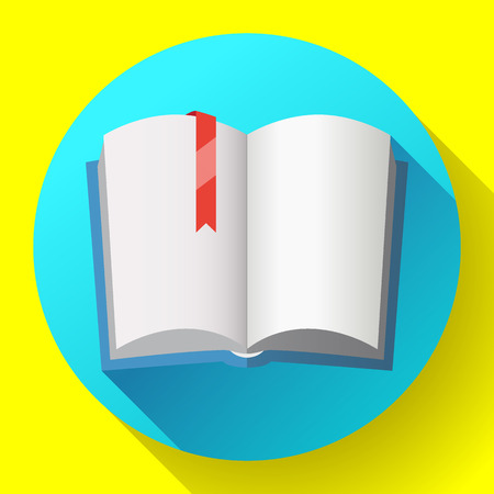 Icon of open textbook with red bookmark. Blank book with a blue cover. Isolated on white background. Vector illustration.