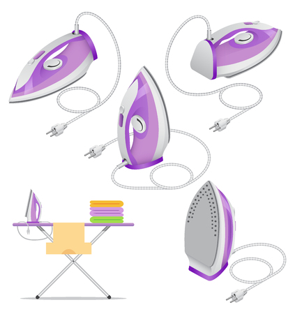 Isometric set of steam iron isolated on white background. Ironing of clothes, home appliance, ironing board. Vector illustration.