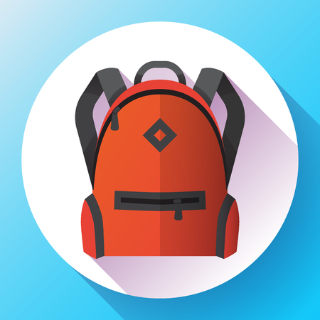 Icon of red school school or travel backpack. Backpack with pockets for schoolchildren, students. Isolated on white background. Vector illustration.