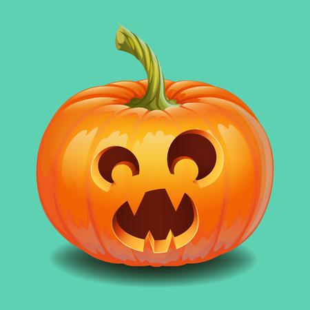 Halloween pumpkin face - funny surprised with big eyes Jack o lantern, autumn holidays banner. Jack o lantern icon emotion. Vector illustration.