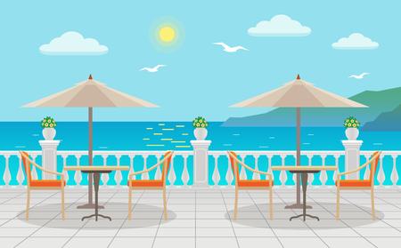 海の景色を望む傘の下にテーブルを持つカフェ。夏休み。フラットスタイルのベクトルイラストレーション。