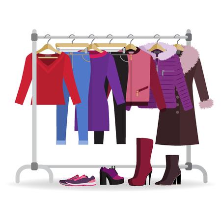 Wieszak na ubrania z różnymi ubraniami i obuwiem na co dzień. Szafa z dżinsami, kurtkami, płaszczem, sukienką. Ubrania jesienne, zimowe, sezonowe. Ilustracja wektorowa w stylu płaski.