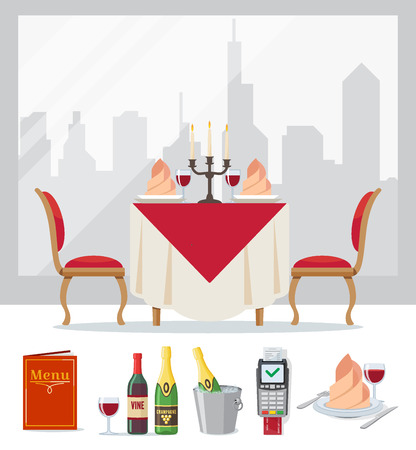 Set of restaurant colorful icon in flat style, cafe. Served table, wine, champagne in bucket of ice, menu, payment terminal. Vector illustration. Illustration