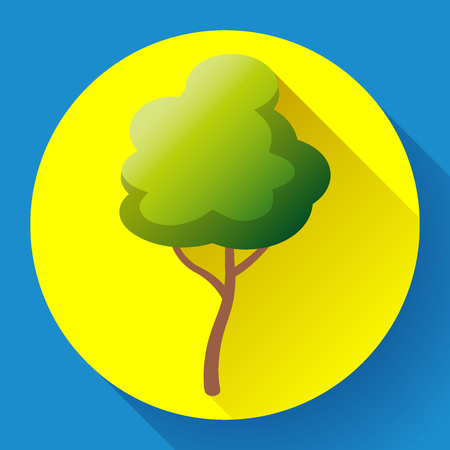 Flat green tree icon vector. Save forest, eco symbol