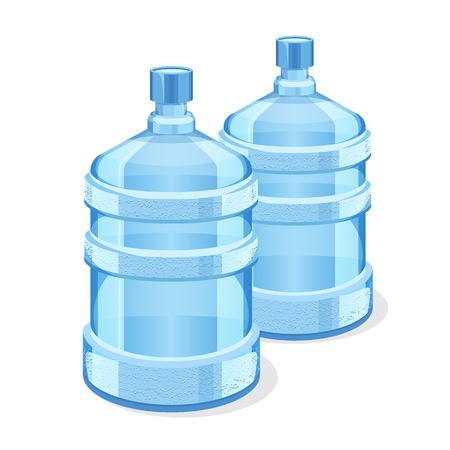 Two realistic plastic bottles for office water cooler. Barrel, gallon, plastic container for with water. bottle Vector illustration.
