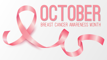 Realistic pink ribbon, october breast cancer awareness month Stock Photo