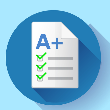 Icon of successful test result. Test paper with A plus grade. Isolated on white background. Vector illustration. Illustration