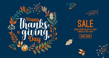 Dibujado a mano tipografía feliz día de gracias en banner de corona de otoño. Texto de celebración con bayas y hojas para postal, icono o insignia. Cita de vacaciones de letras de caligrafía de vector