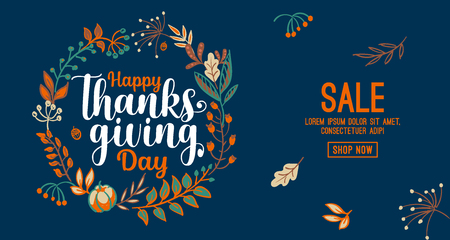 Hand drawn Happy Thanksgiving typography in autumn wreath banner. Celebration text with berries and leaves for postcard, icon or badge. Vector calligraphy lettering holiday quote