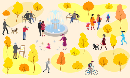 Autumn city park with fountain and walking people. Family holiday, mom and children outdoors, dog walking, running, bicycle riding, painting picture. Vector illustration in flat style. Banque d'images - 127822838