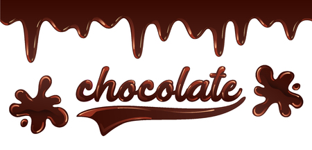 Inscription chocolate written with melted liquid chocolate on white background, chocolate splashes, vector illustration in flat style