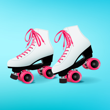 Pair of white roller skates with pink shoelaces on blue background, pink wheels, equipment for outdoor activities, vector illustration in flat style Çizim