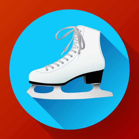 White classic ice skates icon on blue, equipment for winter outdoor activities, figure skating, vector illustration in flat style