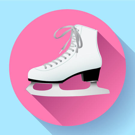 White classic ice skates icon on pink, equipment for winter outdoor activities, figure skating, vector illustration in flat style Çizim