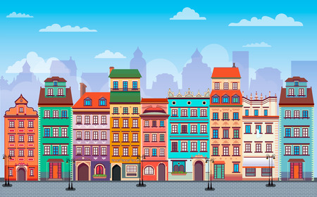 Flat cartoon multicolor colorful historic buildings city town Flat Warsaw cityscape panorama Poland, multi color street