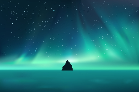 Dark rock against northern lights landscape with stars, starry sky with polar lights, mountain in fog, vector illustration Standard-Bild - 110685234