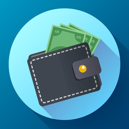 Flache Vektor-Geldbörse und Geld-Symbol mit langem Schatten Vektorgrafik