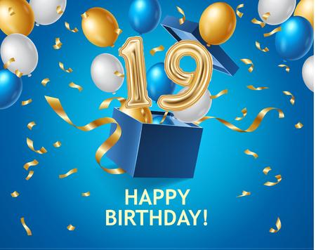 Banner di buon compleanno con confezione regalo, mongolfiere, nastri dorati Vettoriali