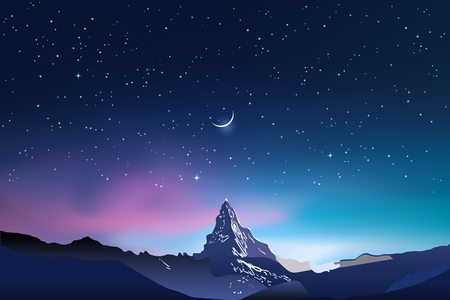 Snowy mountains, pink and blue night sky landscape with stars Stock Photo