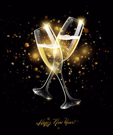 Bicchieri scintillanti di champagne su sfondo nero, effetto bokeh dorato, bicchiere di vino realistico con bevanda gassata, concetto di celebrazione, con segno Felice Anno Nuovo. illustrazione vettoriale Vettoriali