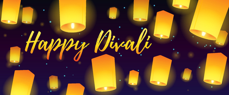 Lettering congratulation happy Divali with paper lanterns. Postcard banner with night sky and bright lanterns. Vector illustration.