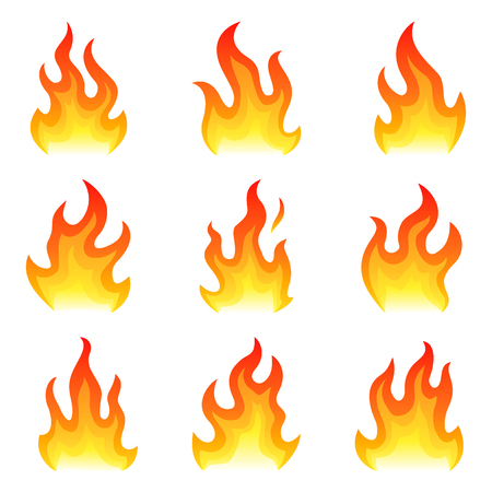 Red fire flat icons set isolated on white background for danger concept or logo design. Flame set and red fire set.