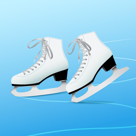 Pair of white classic ice skates on blue ice, equipment for winter outdoor activities, figure skating, vector illustration in flat style