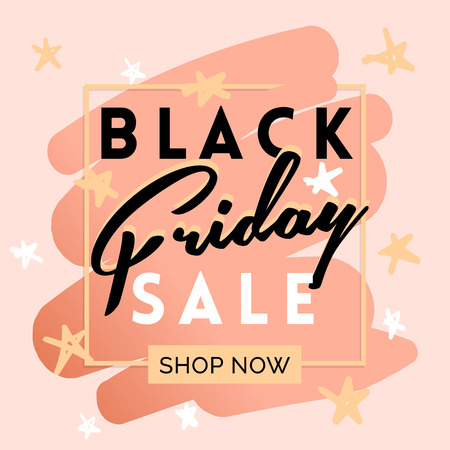 Black friday sale inscription invitation banner. Square frame and stars in black pink colors. Vector illustration in flat style. Banque d'images - 111207738