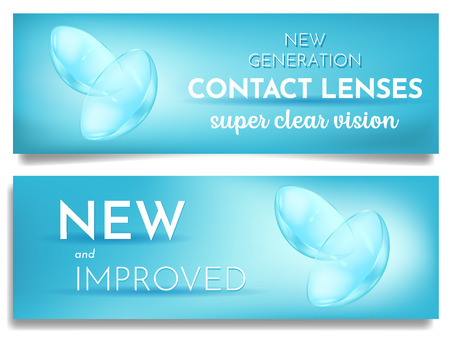 Set of advertising banner new eye contact lenses, super clear vision, promotion, ads template, correct poor vision, vector illustration