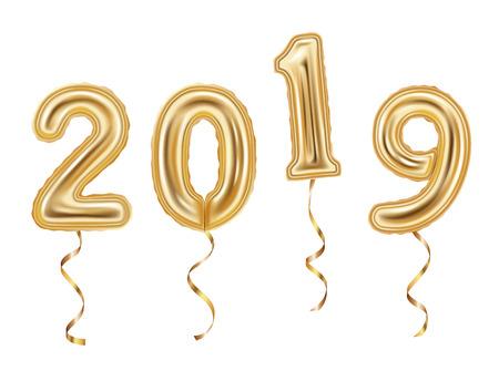 Realistic golden balloons decoration, 2019 happy new year celebration, isolated on white background vector illustration Ilustração