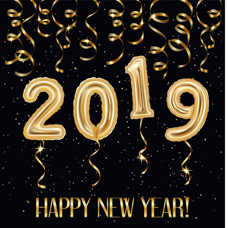 Realistic golden balloons and streamers, confetti 2019 happy new year inscription on black background, vector illustration