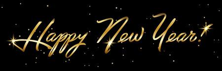 Horisontal Golden sign Happy New Year 2019 Holiday Vector Illustration. Shiny Gold Lettering Composition With Sparkles. Ilustração