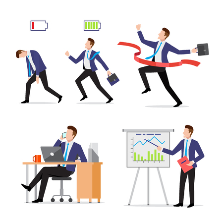 Set businessman with briefcase in different situations, vigorous and tired, crossing finish red line, busy with phone and laptop at work, presenting project results, vector illustration Illusztráció