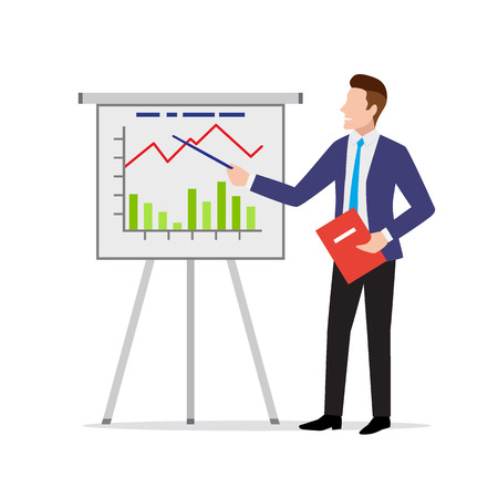 Serious businessman in suit presenting project result with flipchart, poster with analysis and statistics, vector illustration in flat style