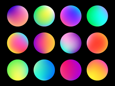 Rounded holographic gradient sphere button. Multicolor green purple yellow orange pink cyan fluid circle gradients, colorful soft round buttons or vivid color spheres flat vector set Vektoros illusztráció