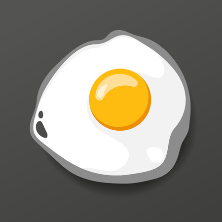 Fried egg. Cooking lunch, dinner and breakfast. Natural product. Fast food egg omelette. Cooking food scrambled egg. Vector illustration.