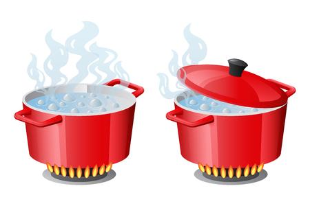 Stellen Sie rote Pfannen mit kochendem Wasser ein, geöffneter und geschlossener Pfannendeckel auf Gasherd, Feuer und Dampf, Vektorillustration
