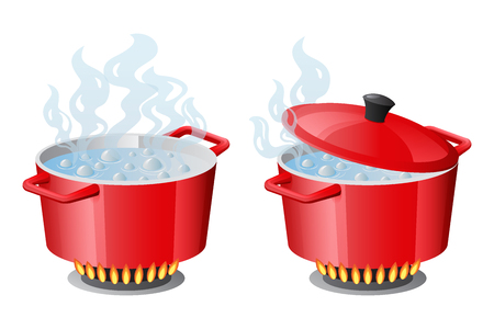 Set red pans with boiling water, opened and closed pan lid on gas stove, fire and steam, vector illustration