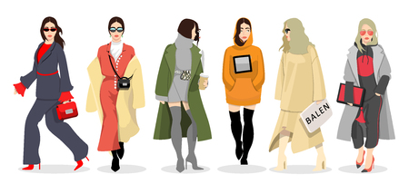 Set of women dressed in stylish trendy clothes, fashion girls, models wearing modern autumn coat, hoody, female cartoon characters, vector illustration
