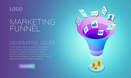 Landing page design with concept of marketing funnel
