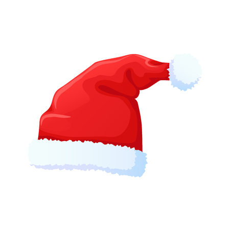 Set of red Santa Claus hat, New Year cap. Red hat with white pompon. Christmas clothes, holiday symbol. Vector illustration in flat style.